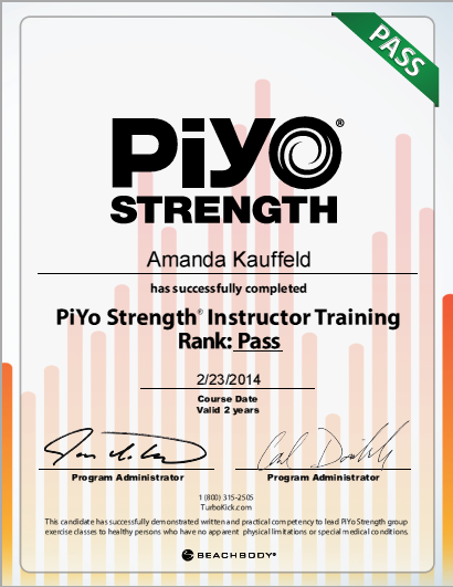 PiYo Strength Certificate photo