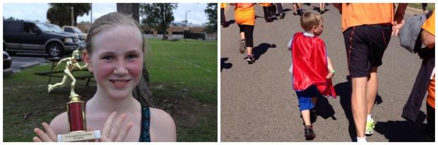 Hunter's first 5k race - 2nd place!  Kaiden's 1 mile Superhero Run.